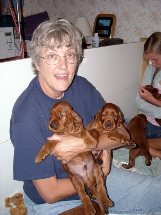 Pat with two pups